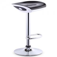 歐式吧椅時尚吧檯椅收銀升降高腳凳前台旋轉吧凳簡約凳子靠背椅子 鏡面底盤三級氣桿黑色