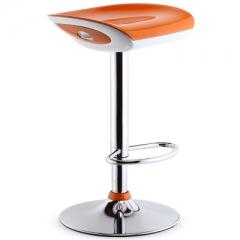 歐式吧椅時尚吧檯椅收銀升降高腳凳前台旋轉吧凳簡約凳子靠背椅子 鏡面底盤三級氣桿桔色