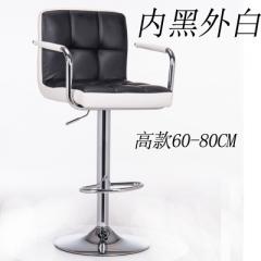 歐式吧檯椅升降旋轉椅子靠背高腳前台凳子酒吧收銀美容化妝椅吧凳 6格高款配扶手內黑外白