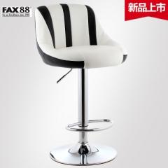 升降吧檯椅簡約吧椅收銀高腳凳歐式吧凳前台酒吧椅子旋轉靠背凳子 三級氣桿-白底黑條