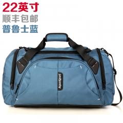 艾奔大容量單肩手提旅行包男女行李包斜跨旅行袋短途旅游健身包 普魯士藍22英吋