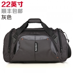 艾奔大容量單肩手提旅行包男女行李包斜跨旅行袋短途旅游健身包 灰色22英吋