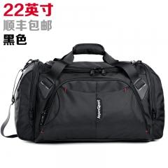 艾奔大容量單肩手提旅行包男女行李包斜跨旅行袋短途旅游健身包 黑色22英寸