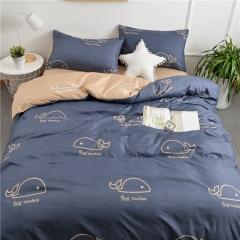 水洗棉四件套床單被套1.8m床上用品單人床學生被子宿舍三件套 小鯨魚 1.2m(4英尺)床