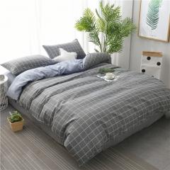 水洗棉四件套床單被套1.8m床上用品單人床學生被子宿舍三件套 簡約方格 1.2m(4英尺)床