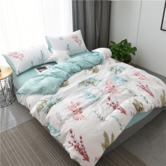 水洗棉四件套床單被套1.8m床上用品單人床學生被子宿舍三件套 春意綠葉 1.2m(4英尺)床