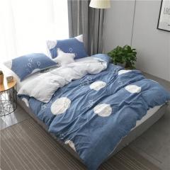 水洗棉四件套床單被套1.8m床上用品單人床學生被子宿舍三件套 美好時光 1.2m(4英尺)床