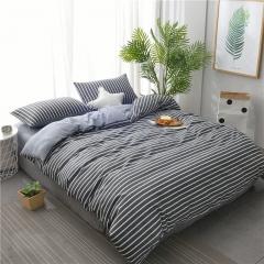 水洗棉四件套床單被套1.8m床上用品單人床學生被子宿舍三件套 記憶條紋 1.2m(4英尺)床