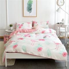 水洗棉四件套床單被套1.8m床上用品單人床學生被子宿舍三件套 神奇仙鶴--粉 1.2m(4英尺)床