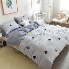 水洗棉四件套床單被套1.8m床上用品單人床學生被子宿舍三件套 簡約灰角 1.2m(4英尺)床