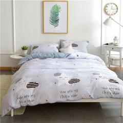 水洗棉四件套床單被套1.8m床上用品單人床學生被子宿舍三件套 星星笑臉 1.2m(4英尺)床