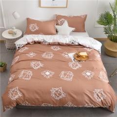 水洗棉四件套床單被套1.8m床上用品單人床學生被子宿舍三件套 時尚材質 1.2m(4英尺)床