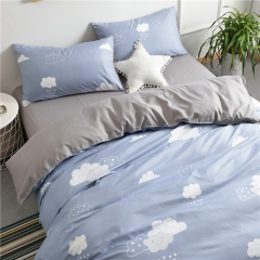 水洗棉四件套床單被套1.8m床上用品單人床學生被子宿舍三件套 云朵雨滴 1.2m(4英尺)床
