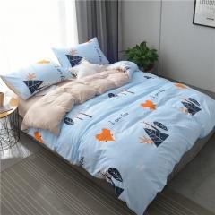 水洗棉四件套床單被套1.8m床上用品單人床學生被子宿舍三件套 淘氣狐狸 1.2m(4英尺)床