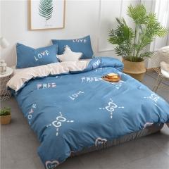 水洗棉四件套床單被套1.8m床上用品單人床學生被子宿舍三件套 簡約字母 1.2m(4英尺)床