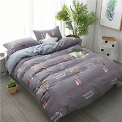 水洗棉四件套床單被套1.8m床上用品單人床學生被子宿舍三件套 聖誕麋鹿 1.2m(4英尺)床