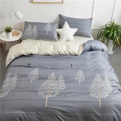 水洗棉四件套床單被套1.8m床上用品單人床學生被子宿舍三件套 聖誕樹 1.2m(4英尺)床