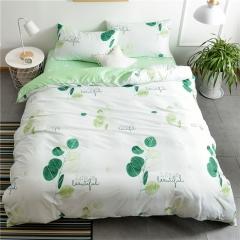 水洗棉四件套床單被套1.8m床上用品單人床學生被子宿舍三件套 美麗樹葉 1.2m(4英尺)床
