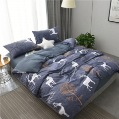 水洗棉四件套床單被套1.8m床上用品單人床學生被子宿舍三件套 叢林之旅 1.2m(4英尺)床