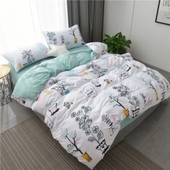 水洗棉四件套床單被套1.8m床上用品單人床學生被子宿舍三件套 可愛花 1.2m(4英尺)床