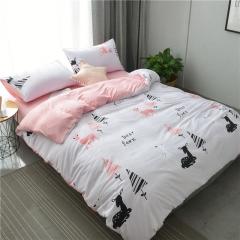 水洗棉四件套床單被套1.8m床上用品單人床學生被子宿舍三件套 樹林小鹿 1.2m(4英尺)床
