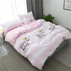 水洗棉四件套床單被套1.8m床上用品單人床學生被子宿舍三件套 小蜜蜂-粉 1.2m(4英尺)床