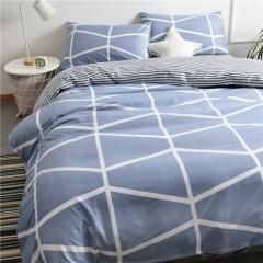 水洗棉四件套床單被套1.8m床上用品單人床學生被子宿舍三件套 几何格調 1.2m(4英尺)床