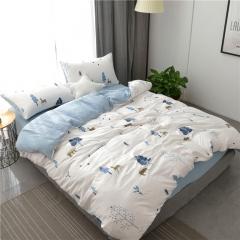 水洗棉四件套床單被套1.8m床上用品單人床學生被子宿舍三件套 熊出沒-藍 1.2m(4英尺)床