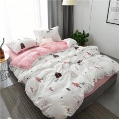 水洗棉四件套床單被套1.8m床上用品單人床學生被子宿舍三件套 熊出沒-粉 1.2m(4英尺)床