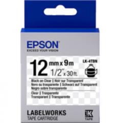 EPSON LK-4TBN (12mm) 標籤帶-透明底黑字(C53S654012)