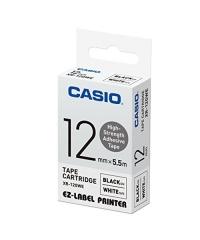 CASIO XR-9/12/18GWE高黏性標籤帶 Tape 白底黑字 XR-12GWE(12mm)