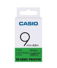 CASIO XR-9F(9mm) 螢光系列標籤帶 螢光綠底黑字XR-9FGN