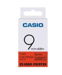 CASIO XR-9F(9mm) 螢光系列標籤帶 螢光橙底黑字XR-9FOE