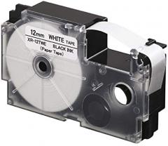CASIO XR-9/12/18TWE 紙質標籤帶 白底黑字 XR-12TWE(12mm)