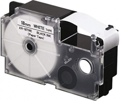 CASIO XR-9/12/18TWE 紙質標籤帶 白底黑字 XR-18TWE(18mm)