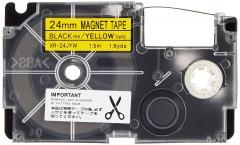 Casio XR-24JWE/ 24JYW 磁性標籤帶 24mm 黃底黑字 XR-24JYW