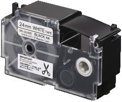 Casio XR-24JWE/ 24JYW 磁性標籤帶 24mm 白底黑字 XR-24JWE