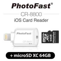 PhotoFast iOS Card Reader CR-8800 + miscroSD XC 64