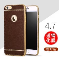 皮紋電鍍手機殼(送鋼化膜) 4.7咖啡色