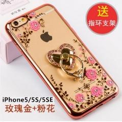 蘋果5s手機殼 iPhone6保護套5蘋果6矽膠6s防摔6plus簡約 蘋果5/5S 普通玫邊粉花