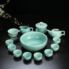 整套功夫茶具套裝 陶瓷 龍泉青瓷 骨瓷 家用泡茶蓋碗茶壺茶洗茶杯 青瓷年年有魚蓋碗+壺+茶洗 蘭
