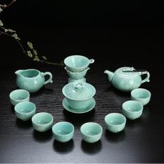 整套功夫茶具套裝 陶瓷 龍泉青瓷 骨瓷 家用泡茶蓋碗茶壺茶洗茶杯 青瓷年年有魚 蓋碗+壺 蘭