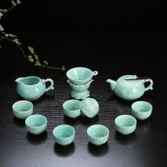 整套功夫茶具套裝 陶瓷 龍泉青瓷 骨瓷 家用泡茶蓋碗茶壺茶洗茶杯 青瓷年年有魚 壺 蘭