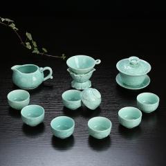 整套功夫茶具套裝 陶瓷 龍泉青瓷 骨瓷 家用泡茶蓋碗茶壺茶洗茶杯 青瓷年年有魚 蓋碗 蘭