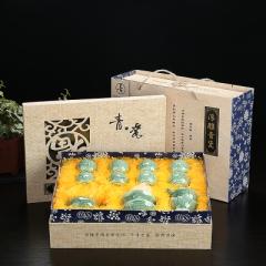 整套功夫茶具套裝 陶瓷 龍泉青瓷 骨瓷 家用泡茶蓋碗茶壺茶洗茶杯 青瓷年年有魚 蓋碗禮盒裝 青