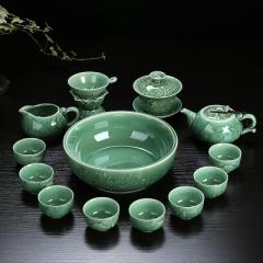 整套功夫茶具套裝 陶瓷 龍泉青瓷 骨瓷 家用泡茶蓋碗茶壺茶洗茶杯 青瓷年年有魚蓋碗+壺+茶洗 青