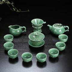 整套功夫茶具套裝 陶瓷 龍泉青瓷 骨瓷 家用泡茶蓋碗茶壺茶洗茶杯 青瓷年年有魚 蓋碗+壺 青