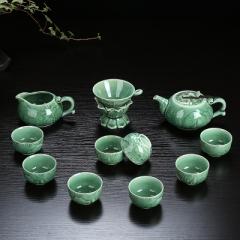整套功夫茶具套裝 陶瓷 龍泉青瓷 骨瓷 家用泡茶蓋碗茶壺茶洗茶杯 青瓷年年有魚 壺 青