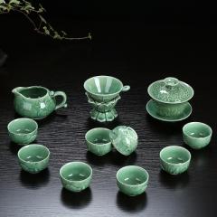 整套功夫茶具套裝 陶瓷 龍泉青瓷 骨瓷 家用泡茶蓋碗茶壺茶洗茶杯 青瓷年年有魚 蓋碗 青