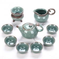 開片瓷器哥窯陶瓷整套功夫茶具套裝特價高端禮盒裝家用送禮 哥窯賢人指路